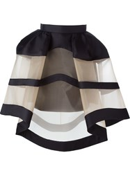 Delpozo Tulle Striped Full Skirt Black