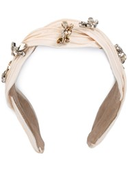 Maison Michel Rhinestone Embellished Headband Women Leather Polyester Crystal One Size Nude Neutrals