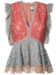 Alexis Peplum Lace Blouse Pink Purple