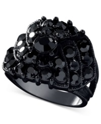 Guess Jet Black Crystal Accent Ring