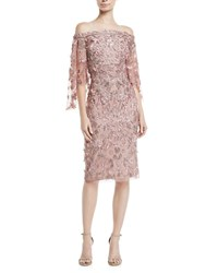 Theia Off The Shoulder 3 D Floral Embroidery Sheath Dress Light Pink