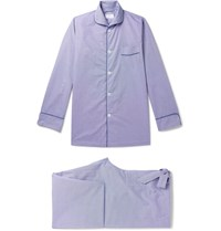 Kingsman Turnbull And Asser Piped Gingham Cotton Pyjama Set Blue