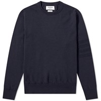 Thom Browne Merino Tonal Four Bar Crew Knit Blue