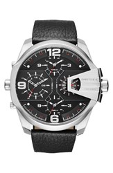 Men's Diesel 'Uber Chief' Chronograph Leather Strap Watch 55Mm Black Silver Black