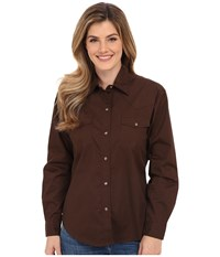Roper L S Solid Basic Snap Front Brown Women's Long Sleeve Button Up