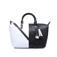 Nine West Face Forward Satchel Black White