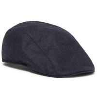 Brunello Cucinelli Leather Trimmed Melange Wool Flat Cap Midnight Blue