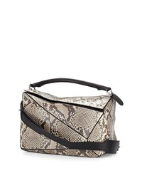 Puzzle Large Python Satchel Bag Natural Loewe