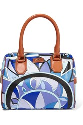 Emilio Pucci Leather Trimmed Printed Vinyl Tote Blue