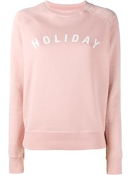 Holiday Logo Printed Sweatshirt Pink And Purple