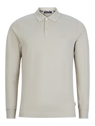 Aquascutum London Hilton Long Sleeve Polo Shirt Beige