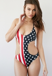 Forever 21 American Flag Monokini Red White