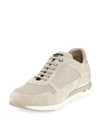 Stefano Ricci Suede And Leather Trainer Sneaker Light Beige