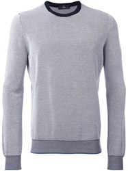 Fay Knitted Crew Neck Jumper Blue