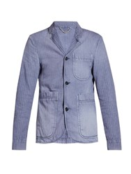 Burberry Single Breasted Herringbone Cotton Blend Blazer Indigo