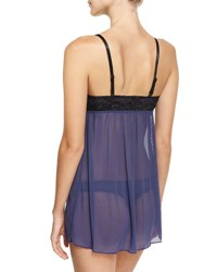 Tart Color Scoop Neck Lace Trim Babydoll Set Blue Black