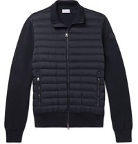 Moncler Slim Fit Panelled Cotton Blend Jersey And Quilted Shell Down Zip Up Sweater Navy