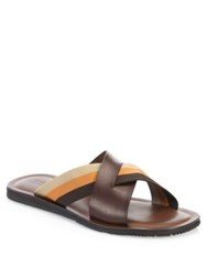 Saks Fifth Avenue Collection Tri Color Sandals Navy Brown