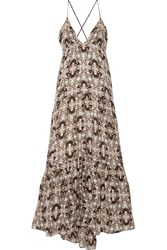 L'agence Grace Printed Silk Maxi Dress White