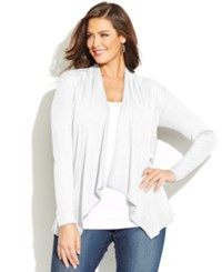 Inc International Concepts Plus Size Draped Open Front Cardigan White