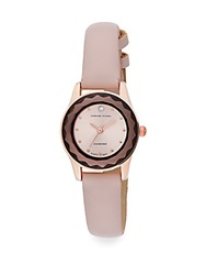 Adrienne Vittadini Pave Diamond Rose Goldtone And Faux Leather Watch