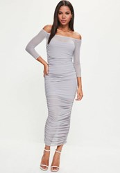 Missguided Lilac Bardot Ruched Mesh Maxi Dress Ice Grey