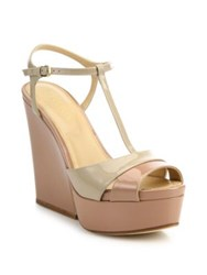 Sergio Rossi Edwige Patent Leather T Strap Platform Wedge Sandals Bright Marble