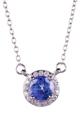 Savvy Cie Tanzanite And White Zircon Pendant Necklace Blue