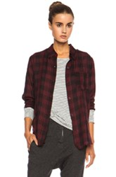 Etoile Isabel Marant Ipa Cotton Voile Button Up In Red Checkered And Plaid Red Checkered And Plaid