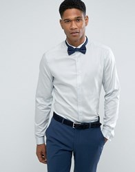 Asos Wedding Skinny Sateen Shirt In Blue With Wing Collar And Double Cuff Blue