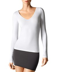 Wolford V Neck Long Sleeve Pullover White