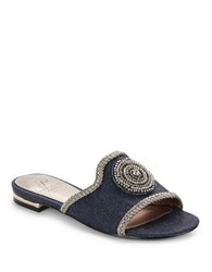 Adrianna Papell London Rhinestone Slides Denim