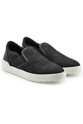 Valentino Fabric And Leather Slip Ons Black