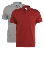 Burton Menswear London 2 Pack Polo Shirt Bordeaux Light Grey