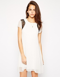 Ax Paris Swing Dress With Lace Inserts Cream