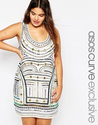 Asos Curve Dress With Tribal Mirror Embellishment White