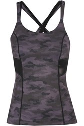 Purity Active Printed Mesh Trimmed Stretch Tank Gray