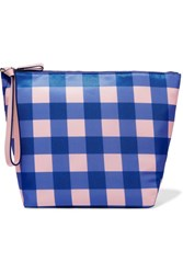 Diane Von Furstenberg Origami Gingham Coated Canvas Clutch Bright Blue