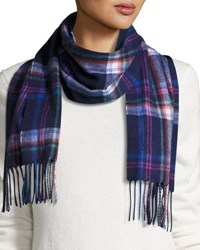 Neiman Marcus Retro Plaid Cashmere Scarf Navy Multi