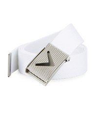 Callaway Golf Chevron Buckle Cotton Woven Belt Bright White