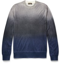 Berluti Degrade Cashmere And Silk Blend Sweater Blue