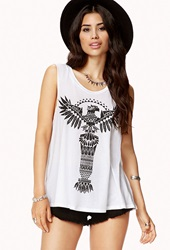 Forever 21 Tribal Print Cut Off Tank