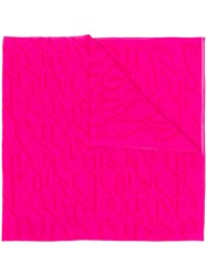 Lanvin Logo Embroidered Scarf Pink And Purple