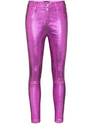 Rta Madrid Skinny Leather Trousers Pink