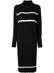 Loveless Striped Knit Dress Black
