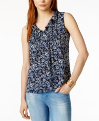 Tommy Hilfiger Printed Ruffle Detail Top Only At Macy's Pacific Multi