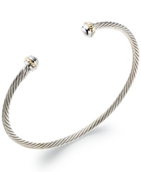 Macy's Sterling Silver And 14K Gold Cable Cuff Bracelet