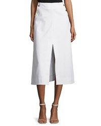 Tanya Taylor Ines Stretch Twill Midi Skirt White