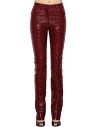 Roberto Cavalli Embossed Nappa Leather Pants Red