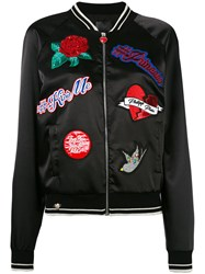 Philipp Plein Embroidered Bomber Jacket Women Polyester Spandex Elastane M Black